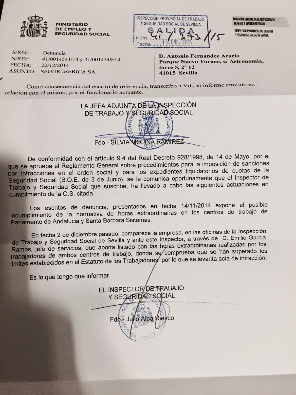 RESOLUCION I NSPECCION DE TRABAJO PARLAMENTO